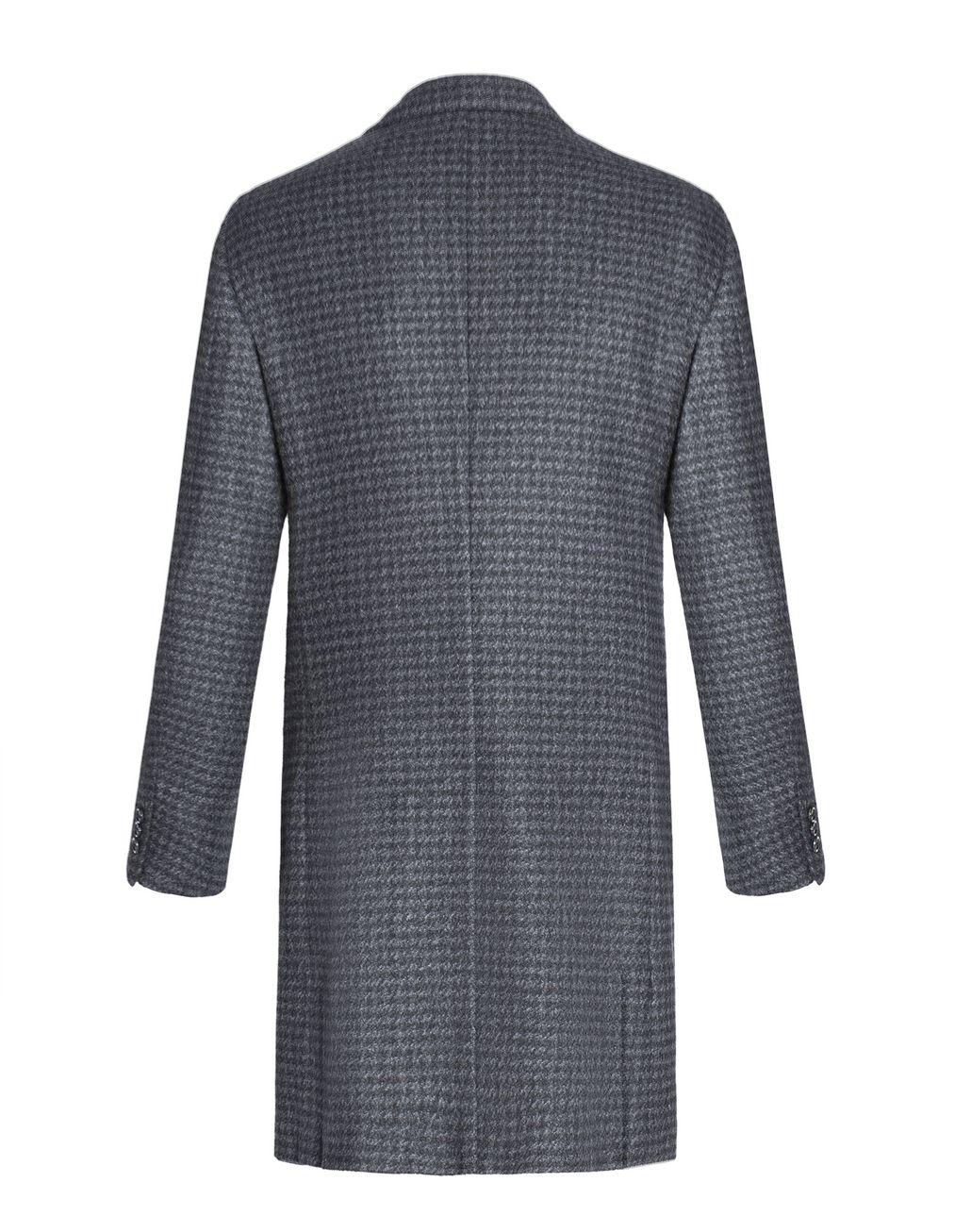 BRIONI Grey Macro Pied de Poule Plume Coat in Cashmere Outerwear U r