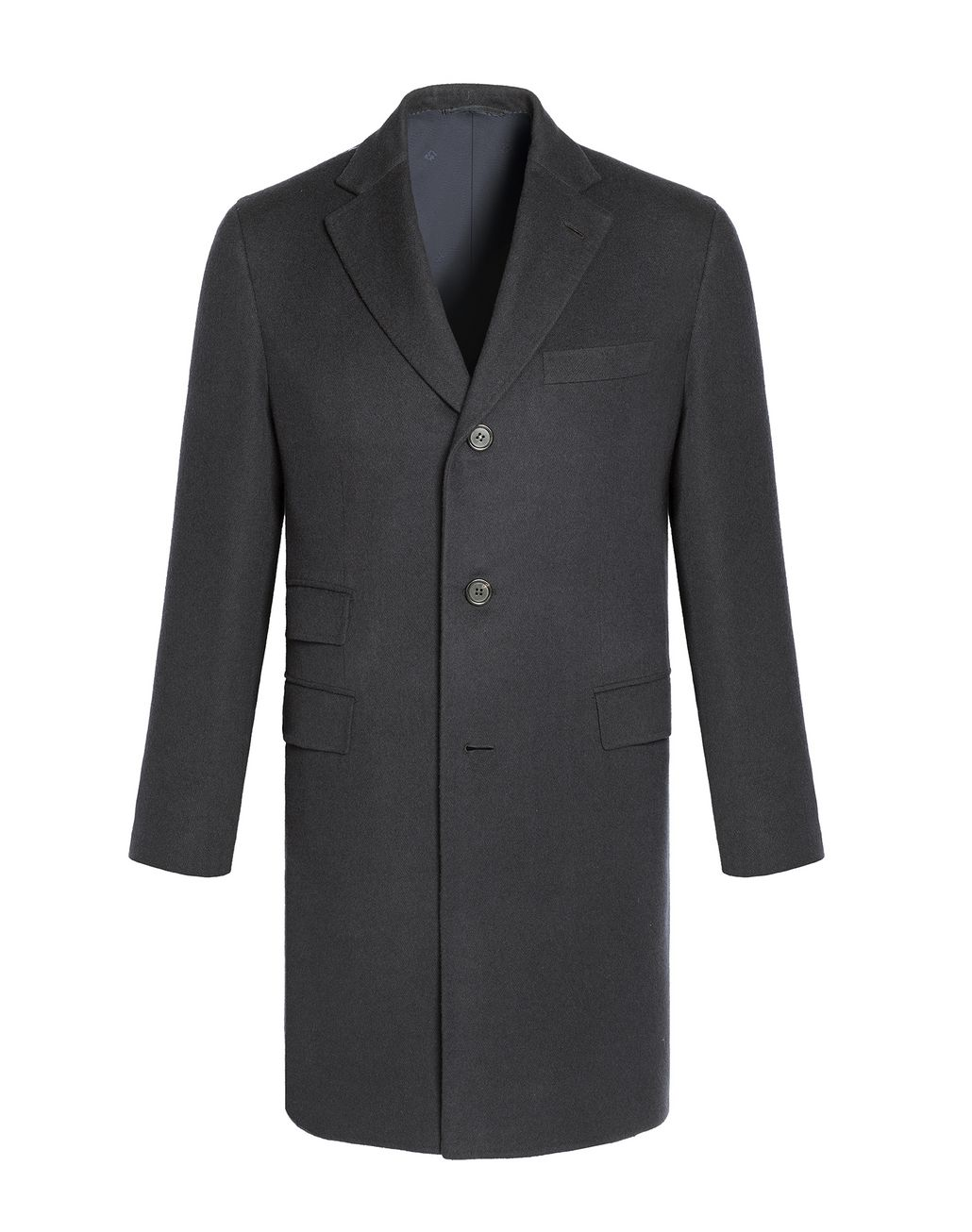 BRIONI Charcoal Single Breasted Grey Coat Outerwear U f