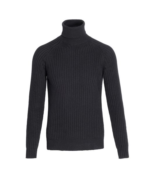 Black Cashmere Ribbed Turtleneck Sweater