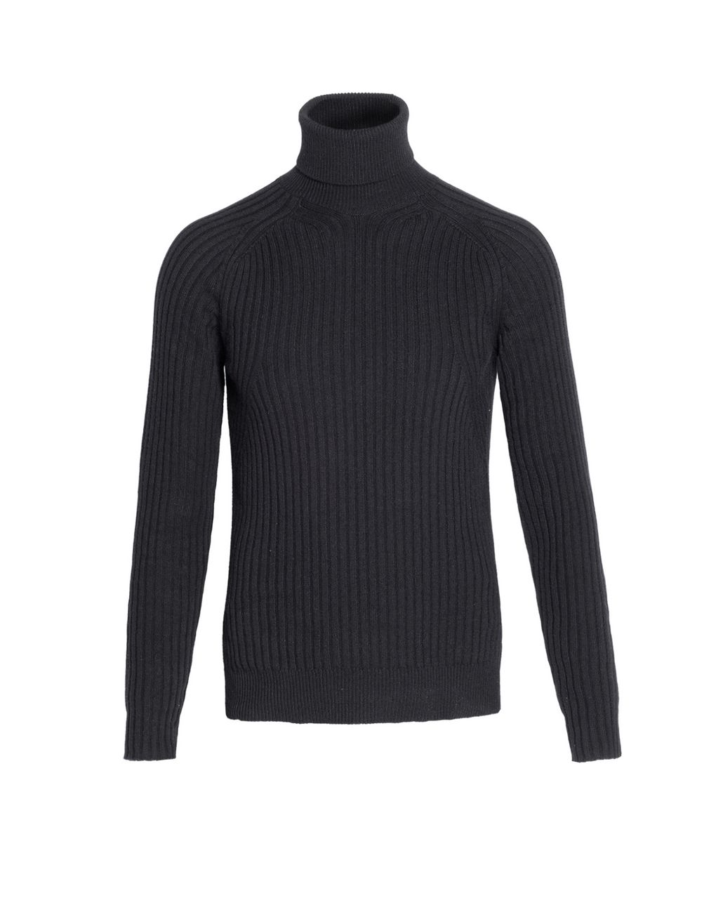 BRIONI Black Cashmere Ribbed Turtleneck Sweater Knitwear Man f