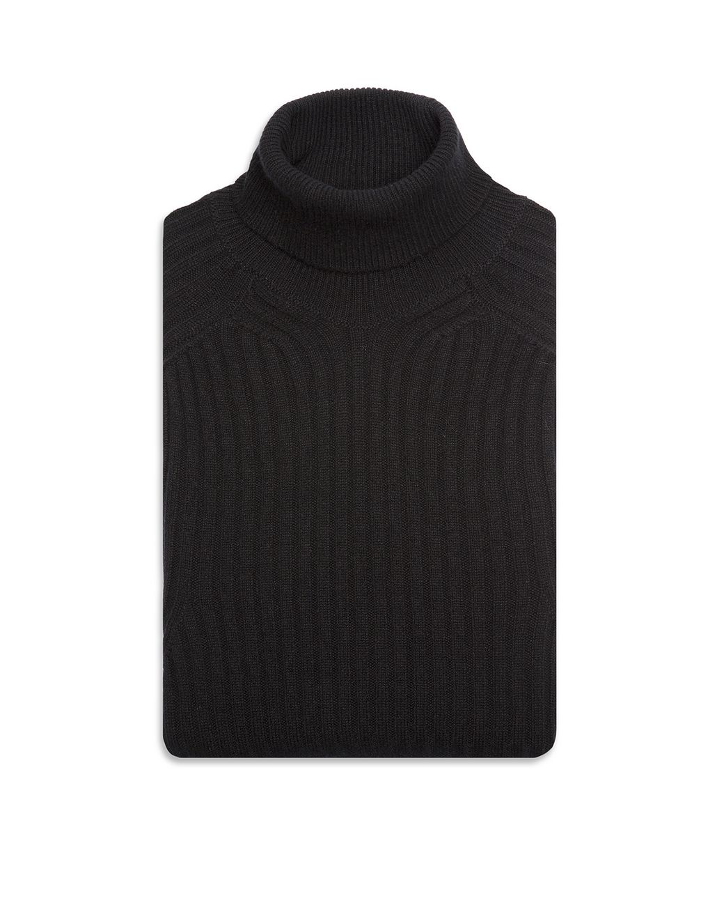 BRIONI Black Cashmere Ribbed Turtleneck Sweater Knitwear Man r
