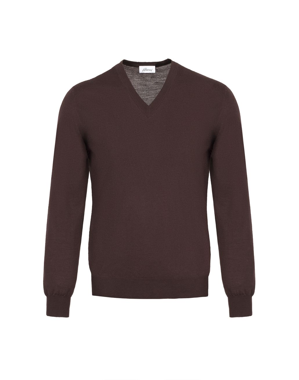 BRIONI Chocolate Brown V- Neck Sweater Knitwear Man f