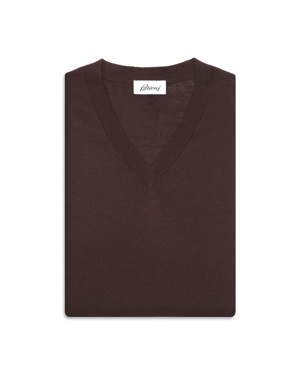 BRIONI Chocolate Brown V- Neck Sweater Knitwear Man r