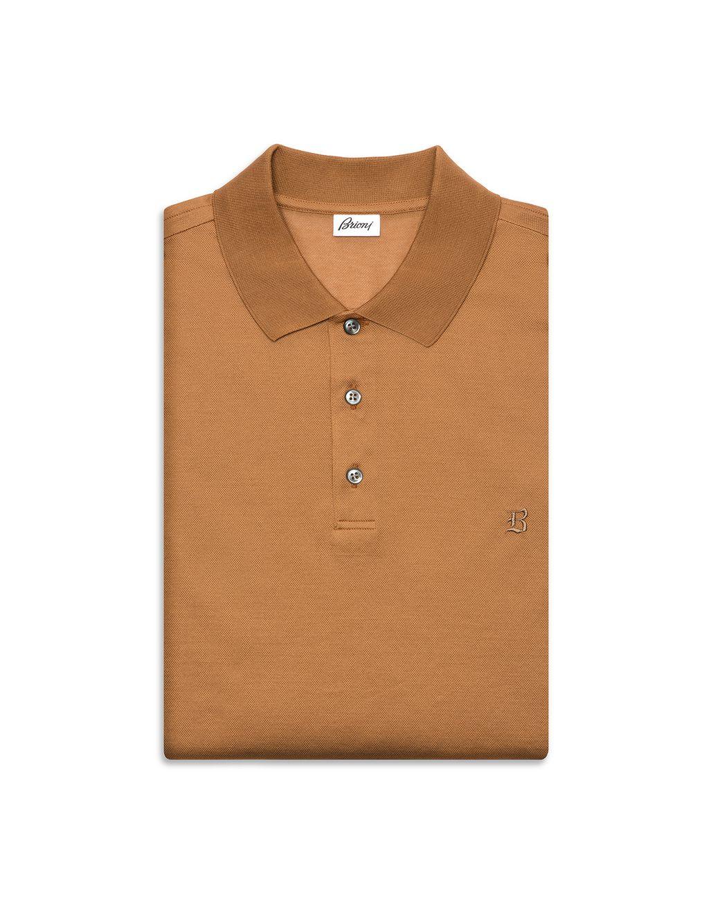 BRIONI Beige Logo Polo Shirt T-Shirts & Polos Man r