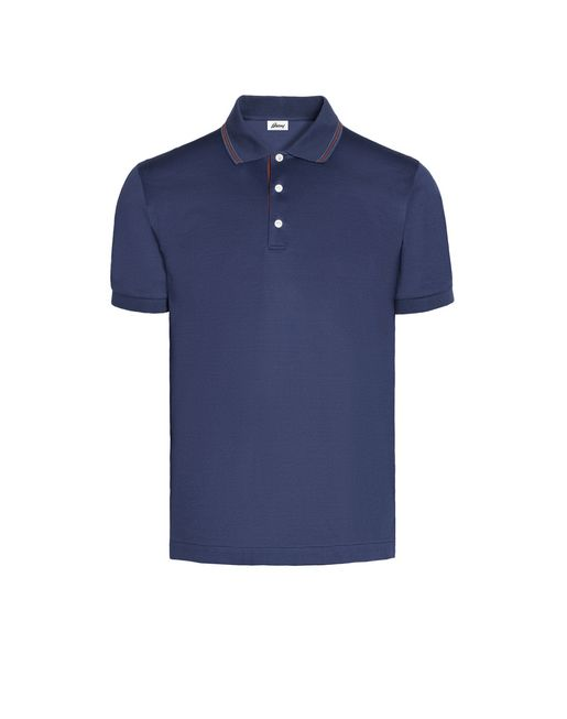 Blue Polo Shirt with Silk Knitted Details