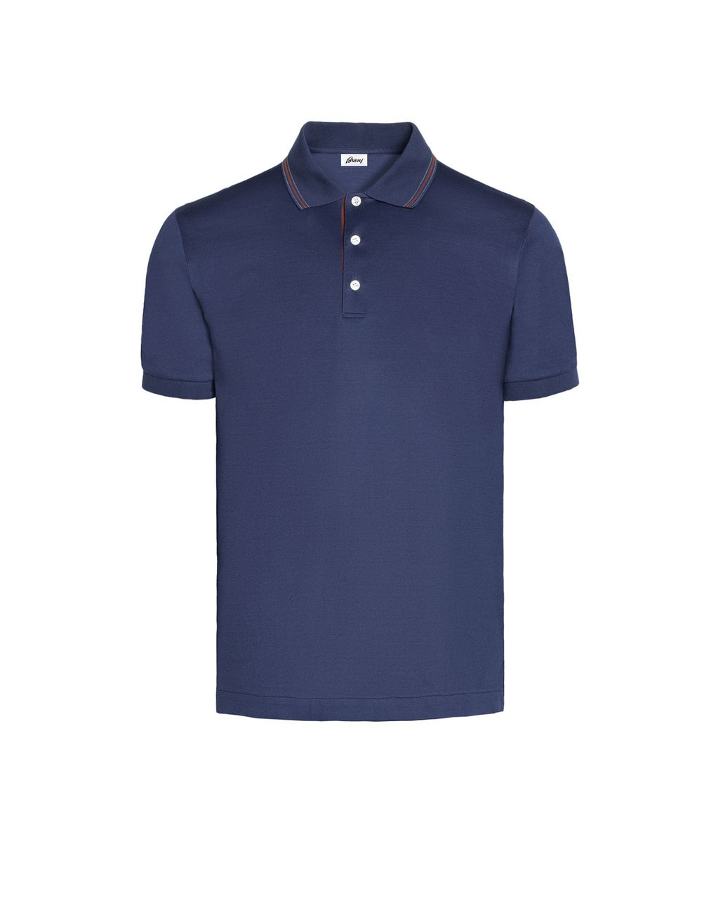 BRIONI Blue Polo Shirt with Silk Knitted Details T-Shirts & Polos U f