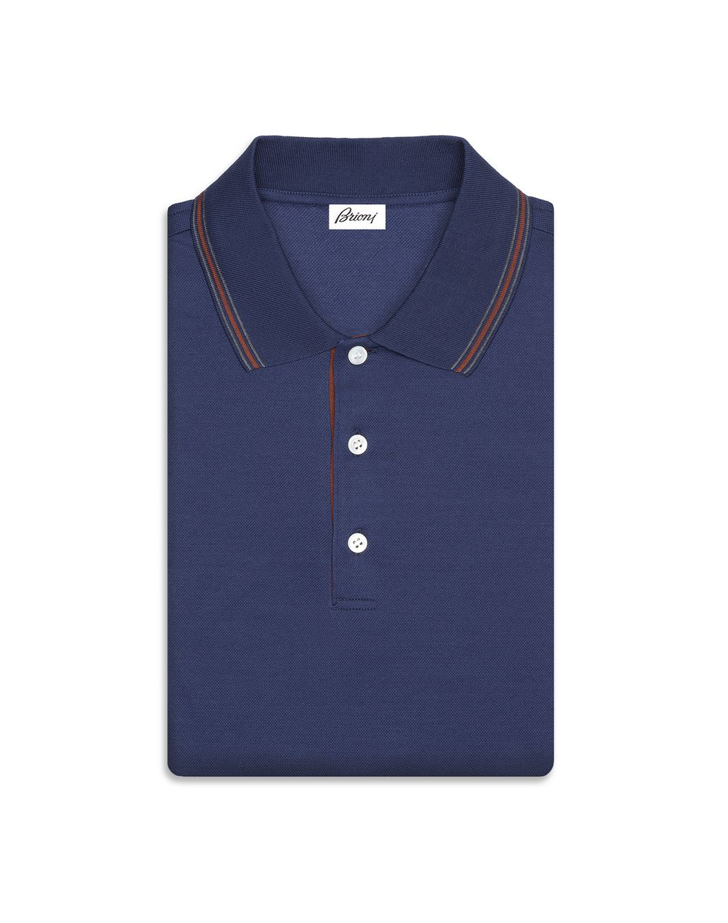 BRIONI Blue Polo Shirt with Silk Knitted Details T-Shirts & Polos Man r