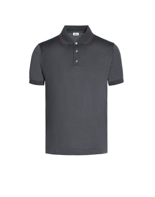 BRIONI T-Shirts & Polos U Grey Polo Shirt with Silk Knitted Details f