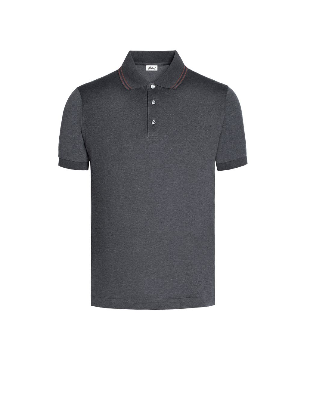BRIONI Grey Polo Shirt with Silk Knitted Details T-Shirts & Polos U f