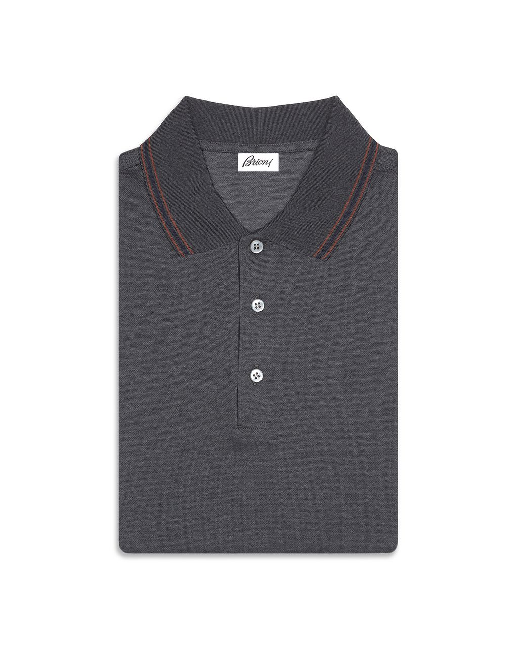 BRIONI Grey Polo Shirt with Silk Knitted Details T-Shirts & Polos Man r