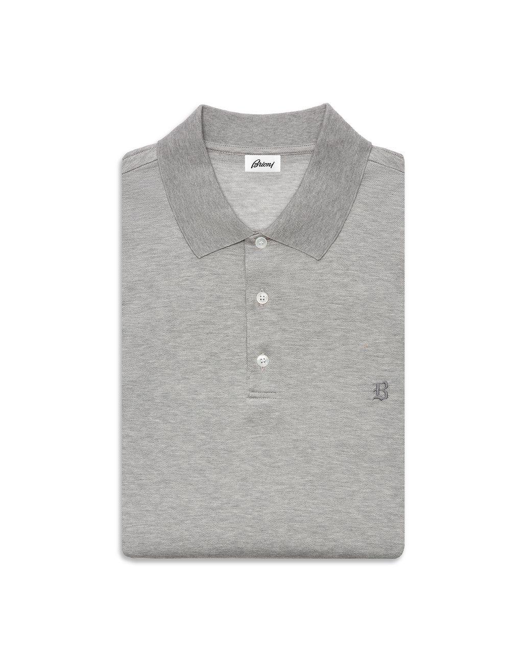 BRIONI Grey Logo Polo Shirt T-Shirts & Polos Man r