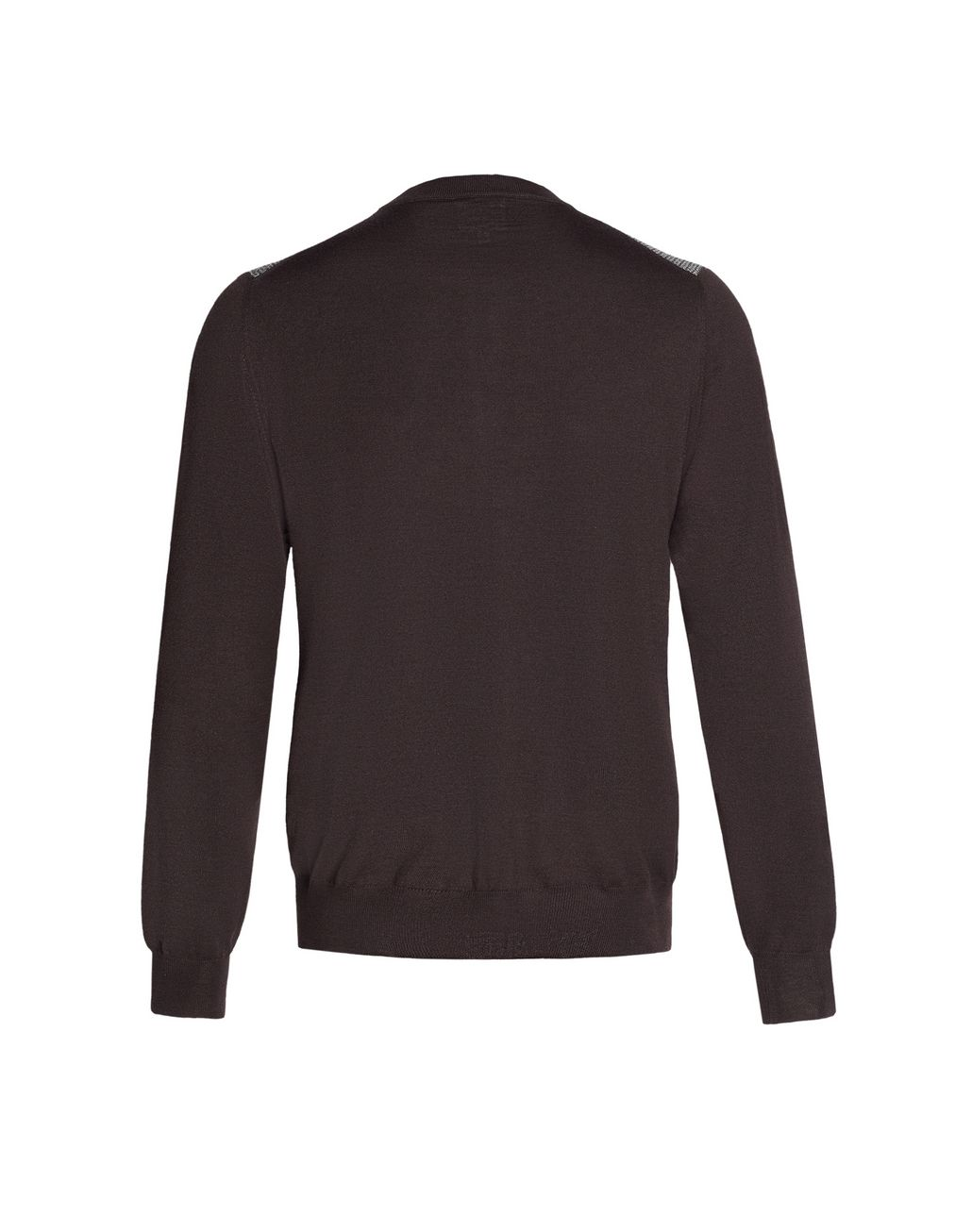 BRIONI Brown Crew-Neck Micro-Designed Sweater Knitwear Man d
