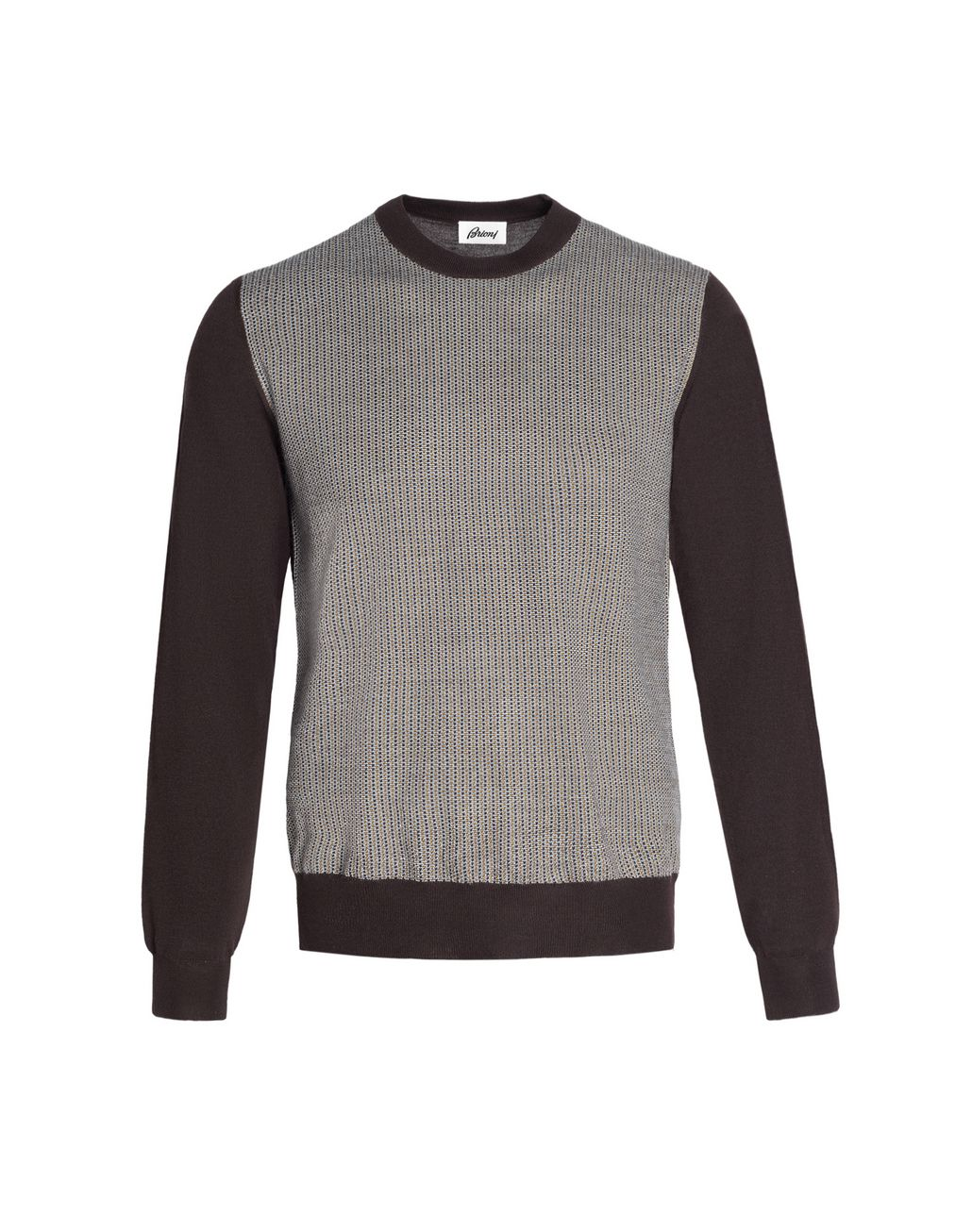 BRIONI Brown Crew-Neck Micro-Designed Sweater Knitwear Man f