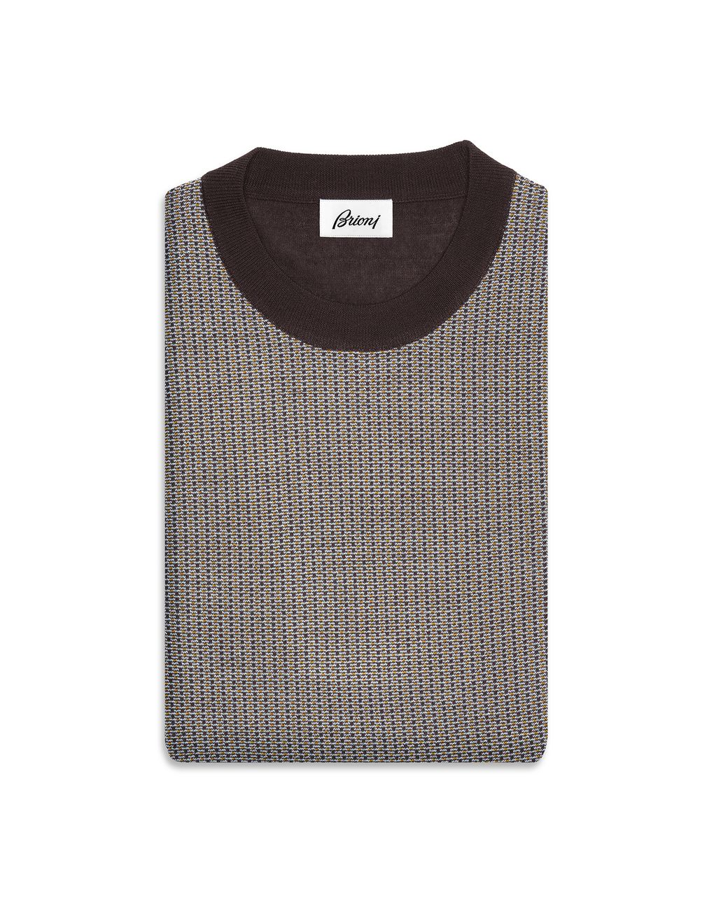 BRIONI Brown Crew-Neck Micro-Designed Sweater Knitwear U r