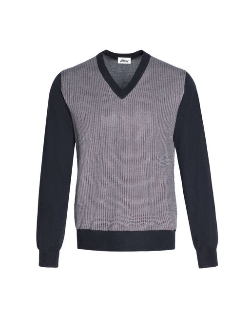 Navy V-Neck Micro-Designed Sweater
