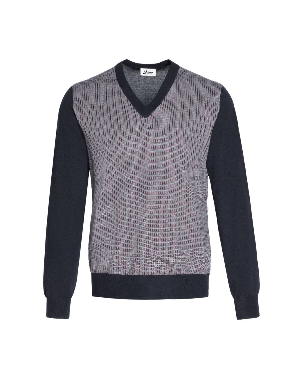 BRIONI Navy V-Neck Micro-Designed Sweater Knitwear Man f