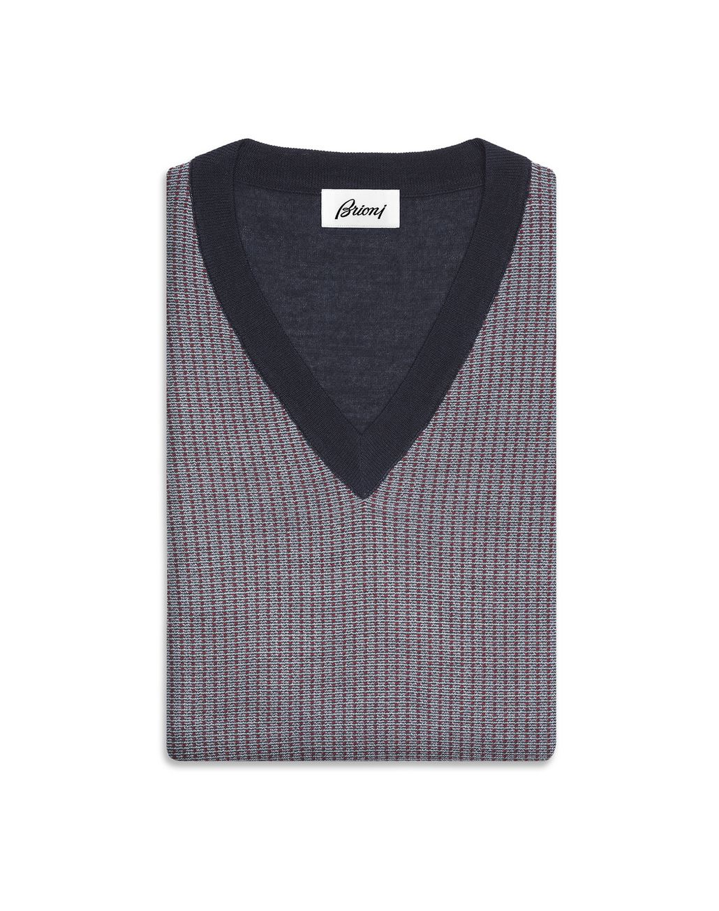 BRIONI Navy V-Neck Micro-Designed Sweater Knitwear Man r
