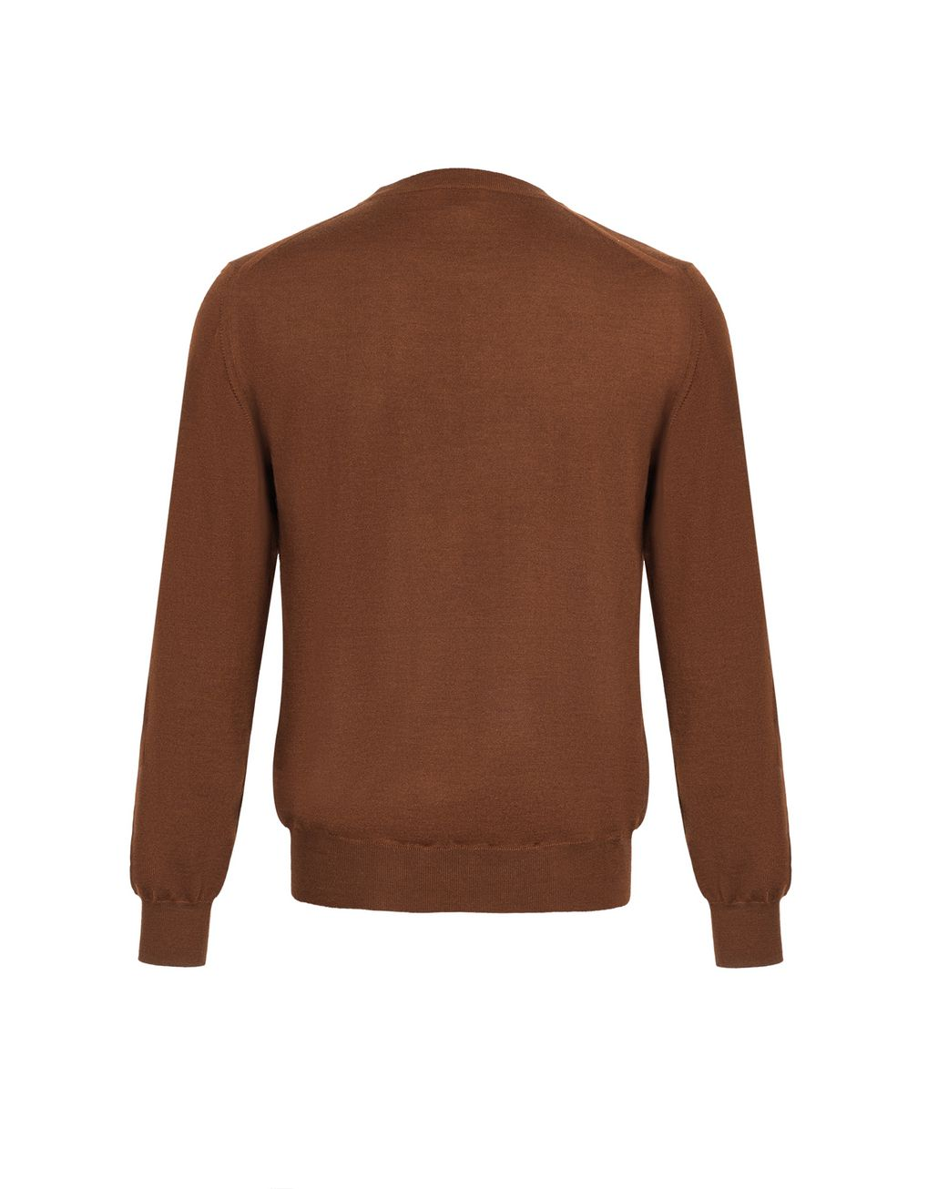 BRIONI Havana Brown Crew-Neck Sweater Knitwear Man d
