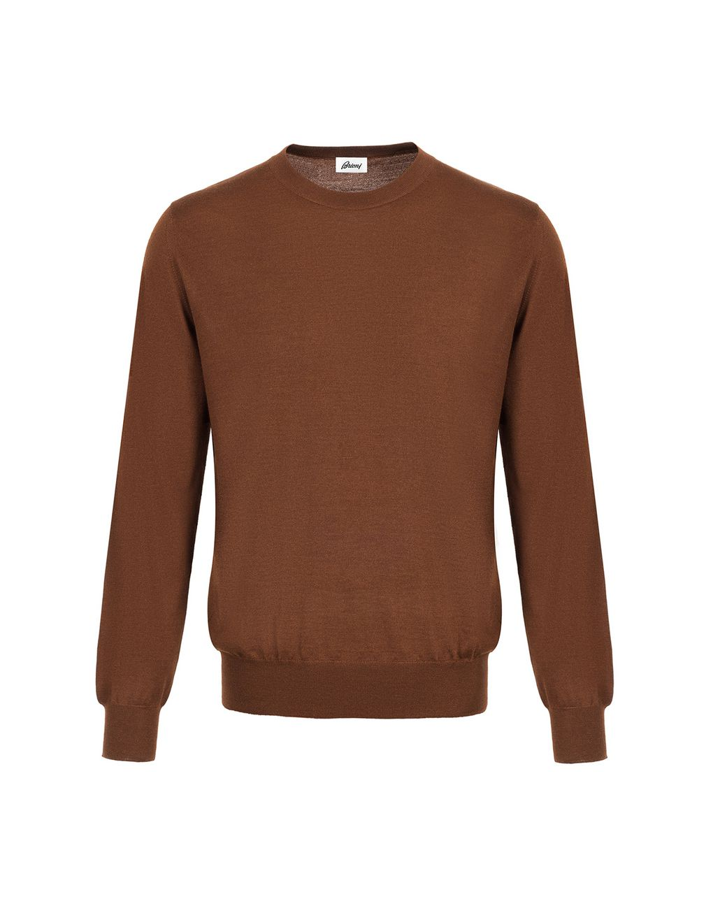 BRIONI Havana Brown Crew-Neck Sweater Knitwear Man f