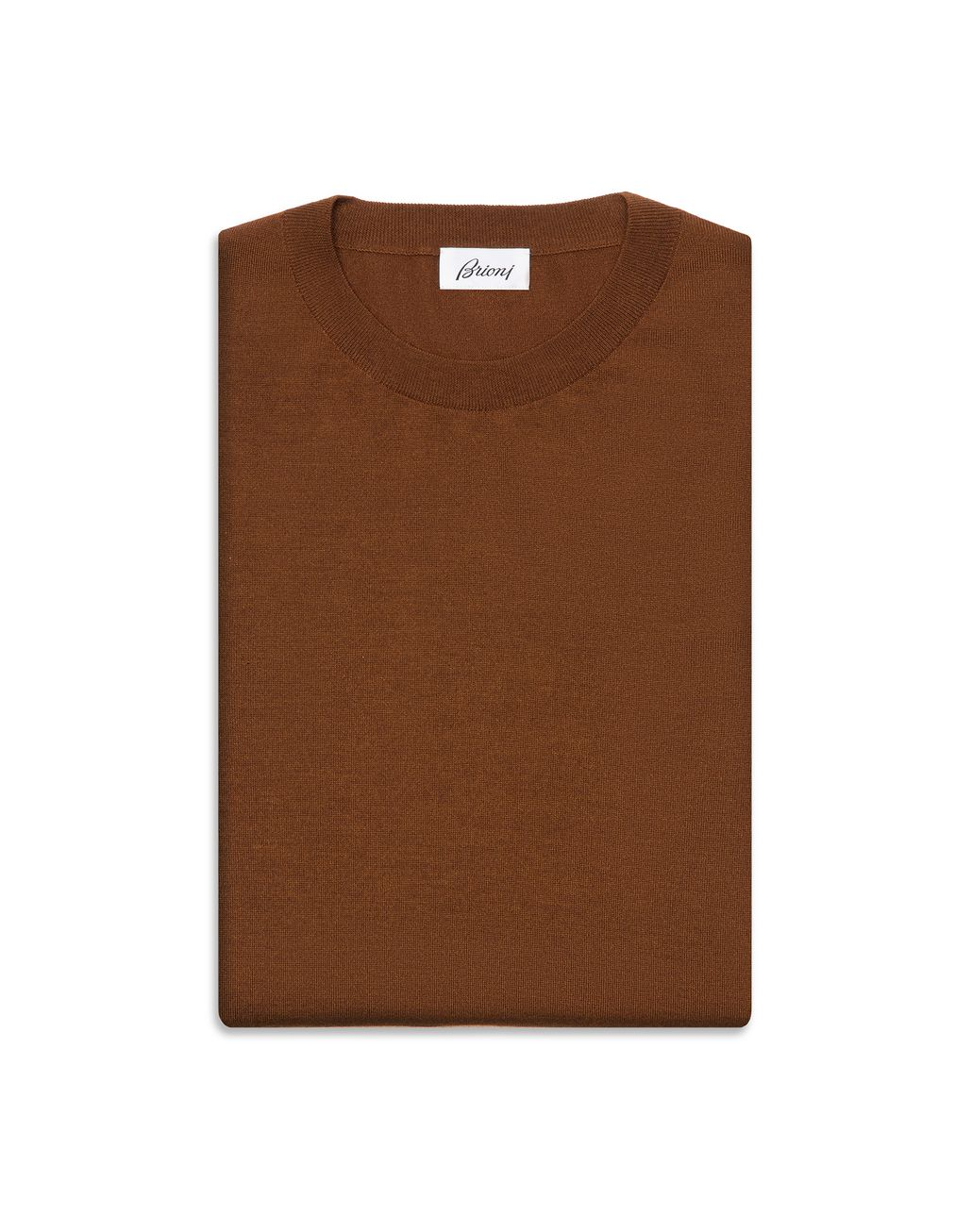 BRIONI Havana Brown Crew-Neck Sweater Knitwear Man r