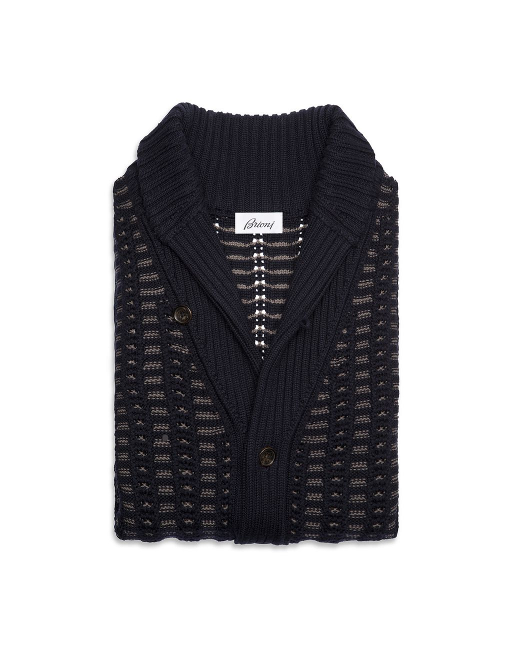 BRIONI Navy and Beige Shawl Cardigan Knitwear [*** pickupInStoreShippingNotGuaranteed_info ***] r