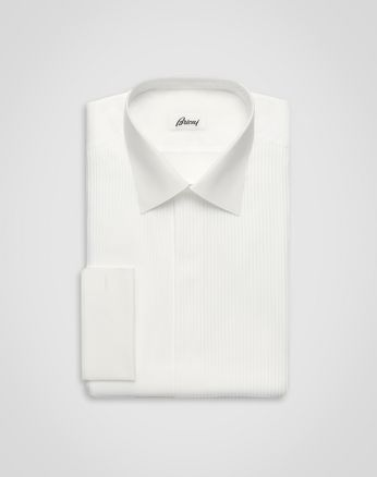 'Essential' Evening White Comfort Shirt with Plastron