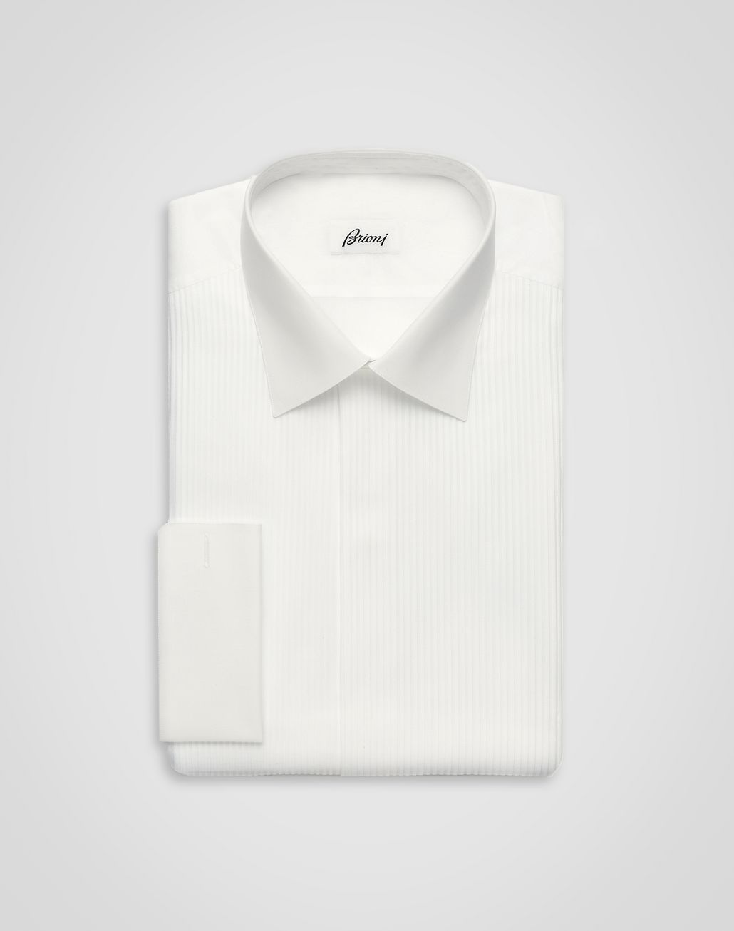 BRIONI 'Essential' Evening White Comfort Shirt with Plastron Formal shirt [*** pickupInStoreShippingNotGuaranteed_info ***] f