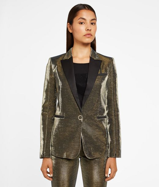 KARL LAGERFELD Gold Tuxedo Blazer 12_f