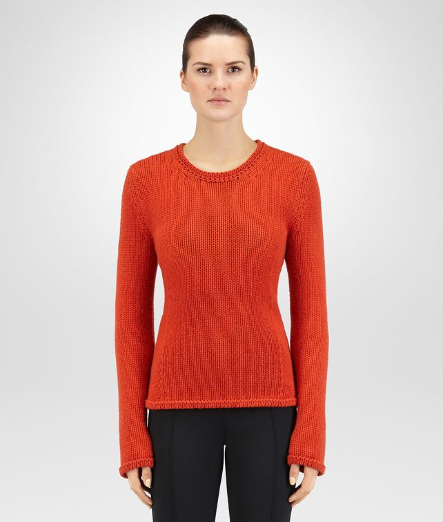 BOTTEGA VENETA TERRACOTTA CASHMERE SWEATER Knitwear or Top or Shirt D fp