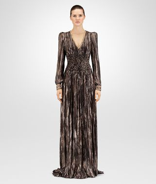 ESPRESSO SILK JACQUARD LONG DRESS