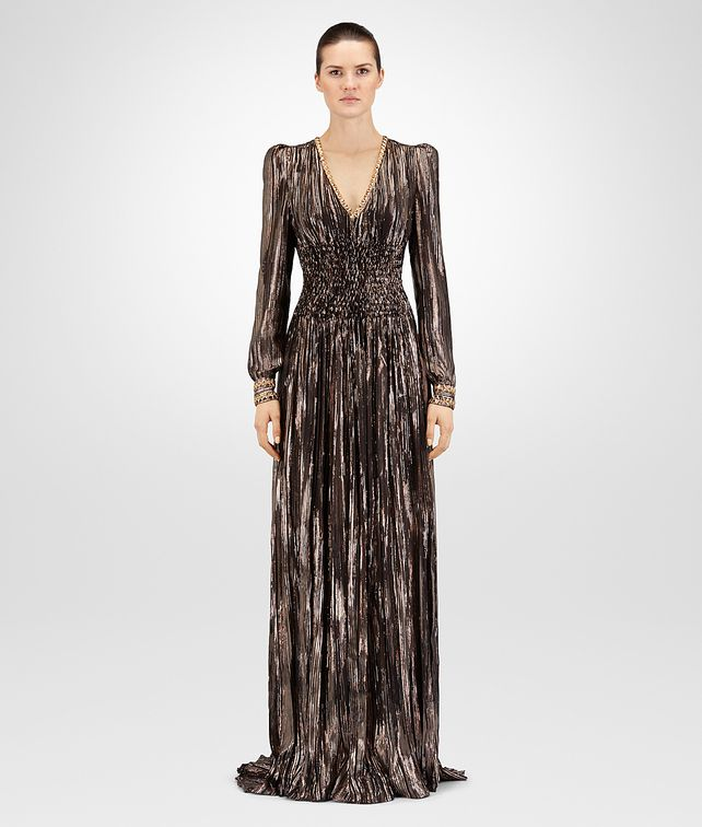 BOTTEGA VENETA ESPRESSO SILK JACQUARD LONG DRESS Dress D fp