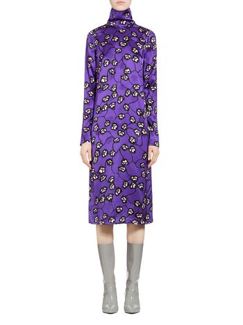 Marni Dress in satin jacquard Fleshy print Woman