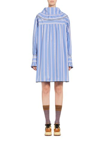 Marni Striped poplin dress with ruches Woman