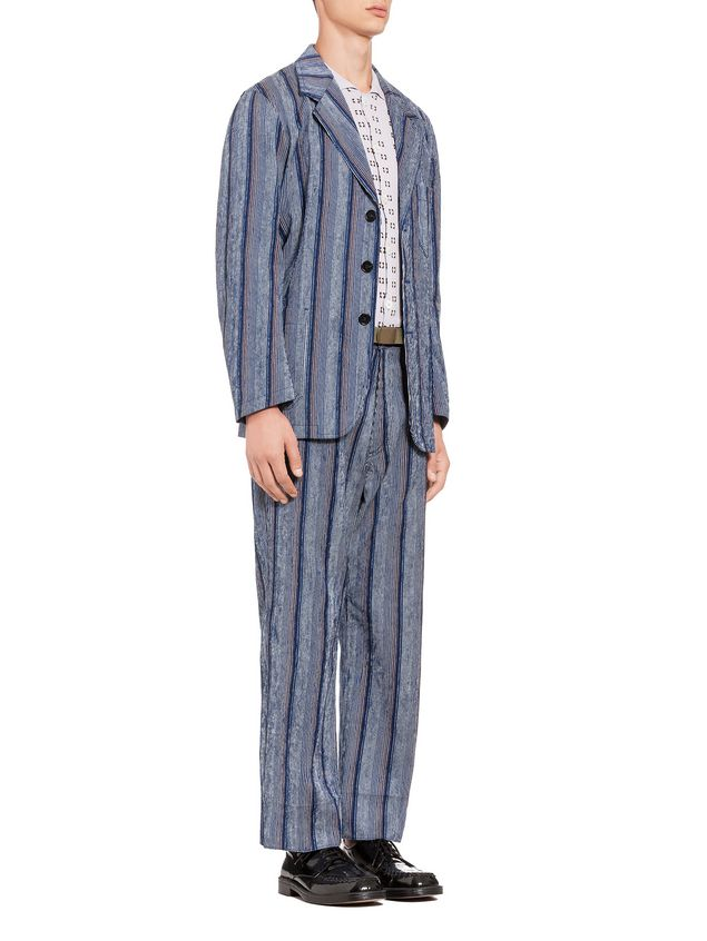 Marni Three-button jacket in striped cotton Man - 4