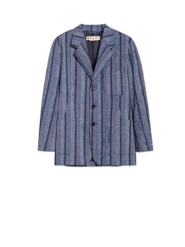 Marni Three-button jacket in striped cotton Man - 2