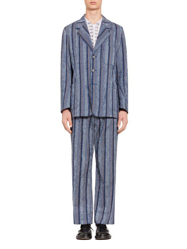 Marni Three-button jacket in striped cotton Man - 1