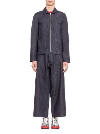 Marni Maxi patch-pockets bomber jacket in denim Man