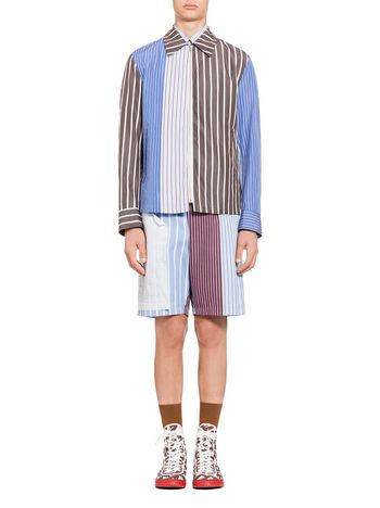 Marni Patchwork bomber jacket in striped cotton Man