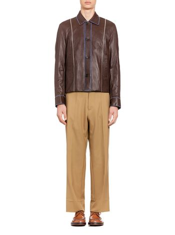 Marni Leather bomber jacket with zig-zag stitching Man