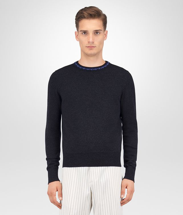 BOTTEGA VENETA DARK GREY WOOL CASHMERE SWEATER Knitwear Man fp