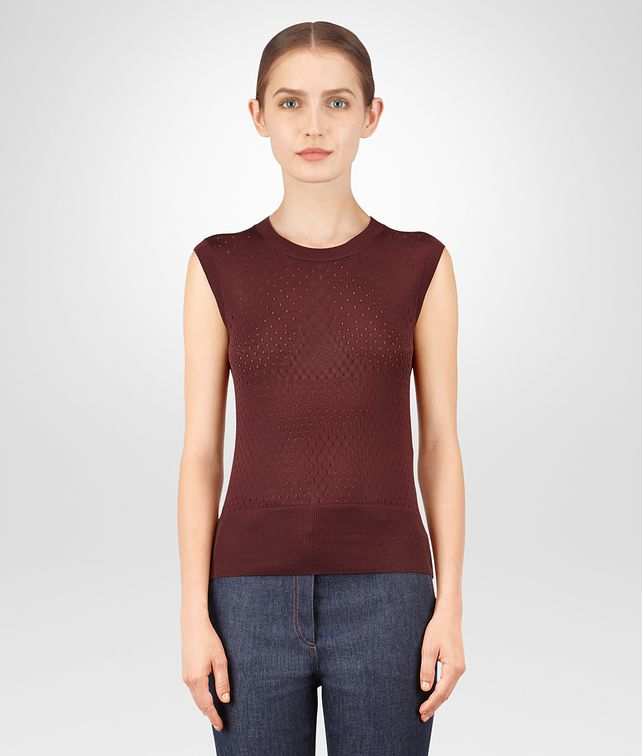 BOTTEGA VENETA GIGOLO RED SILK TOP Knitwear or Top or Shirt Woman fp