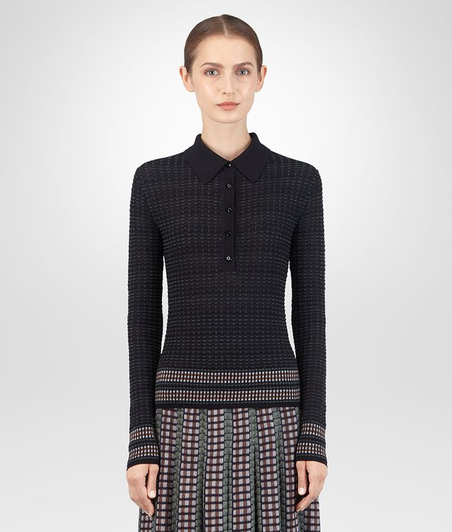 BOTTEGA VENETA DARK NAVY MERINO TOP Knitwear or Top or Shirt Woman fp