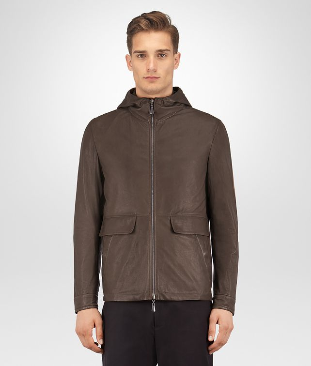 BOTTEGA VENETA ESPRESSO LAMB DARK MOSS NYLON REVERSIBLE JACKET Outerwear and Jacket Man fp