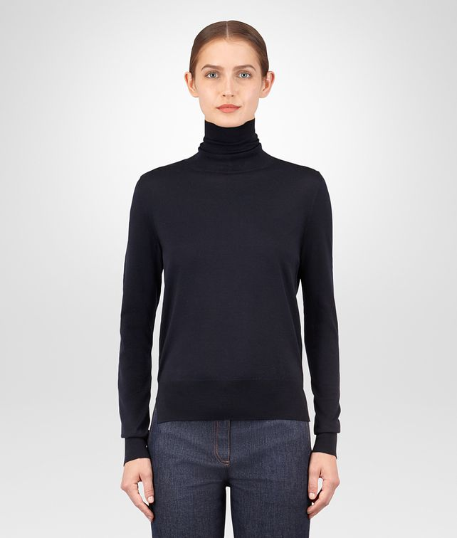 BOTTEGA VENETA DARK NAVY MERINO SWEATER Knitwear or Top or Shirt Woman fp