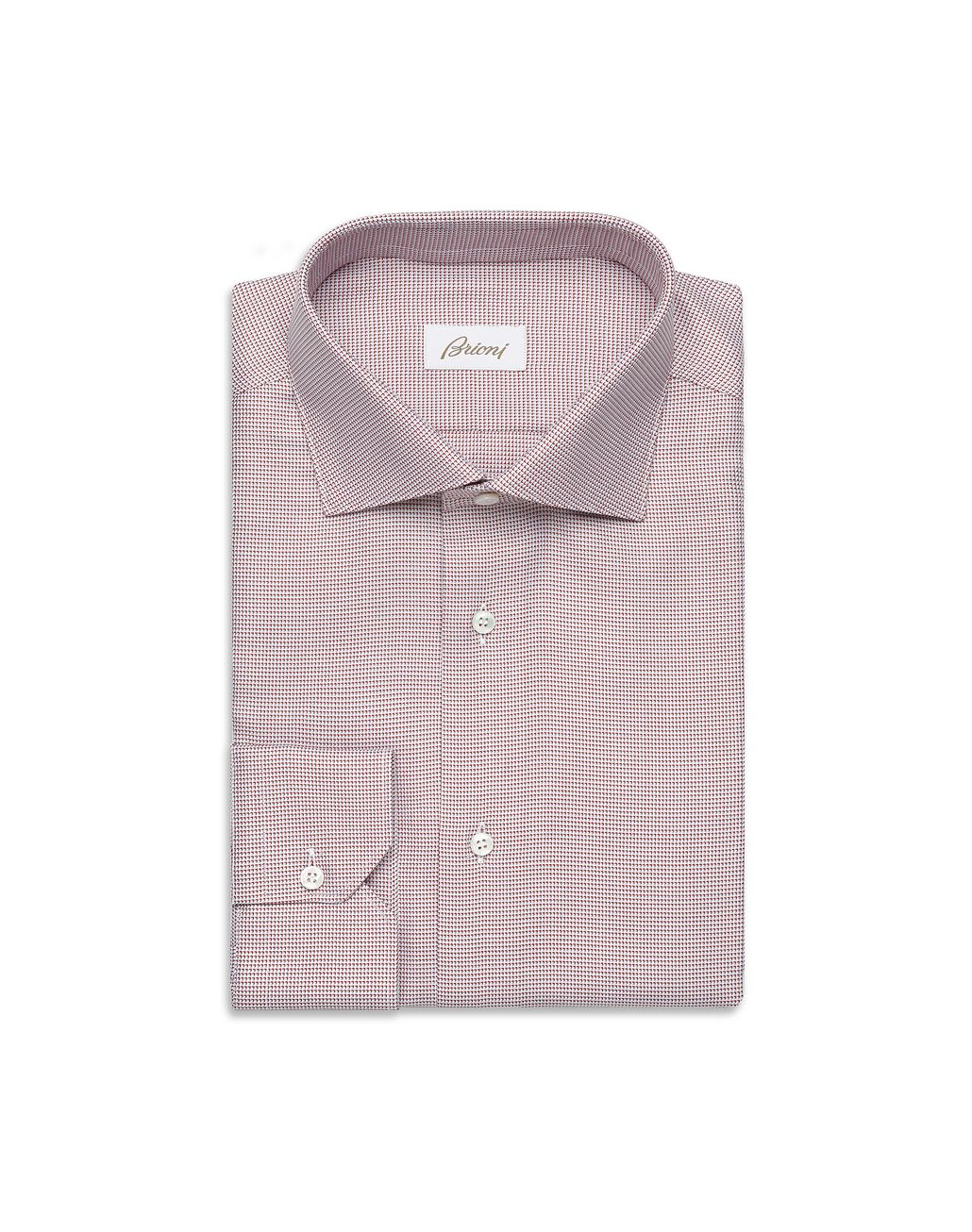 BRIONI Bordeaux and White Micro -Designed Formal Shirt Formal shirt [*** pickupInStoreShippingNotGuaranteed_info ***] f