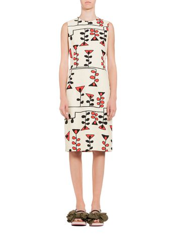 Marni Dress in canvas Paint print Woman