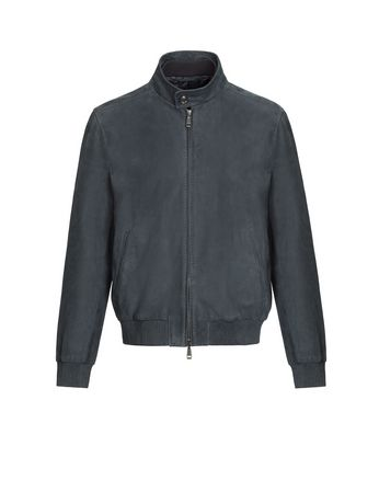 Blue Leather Zippered Bomber