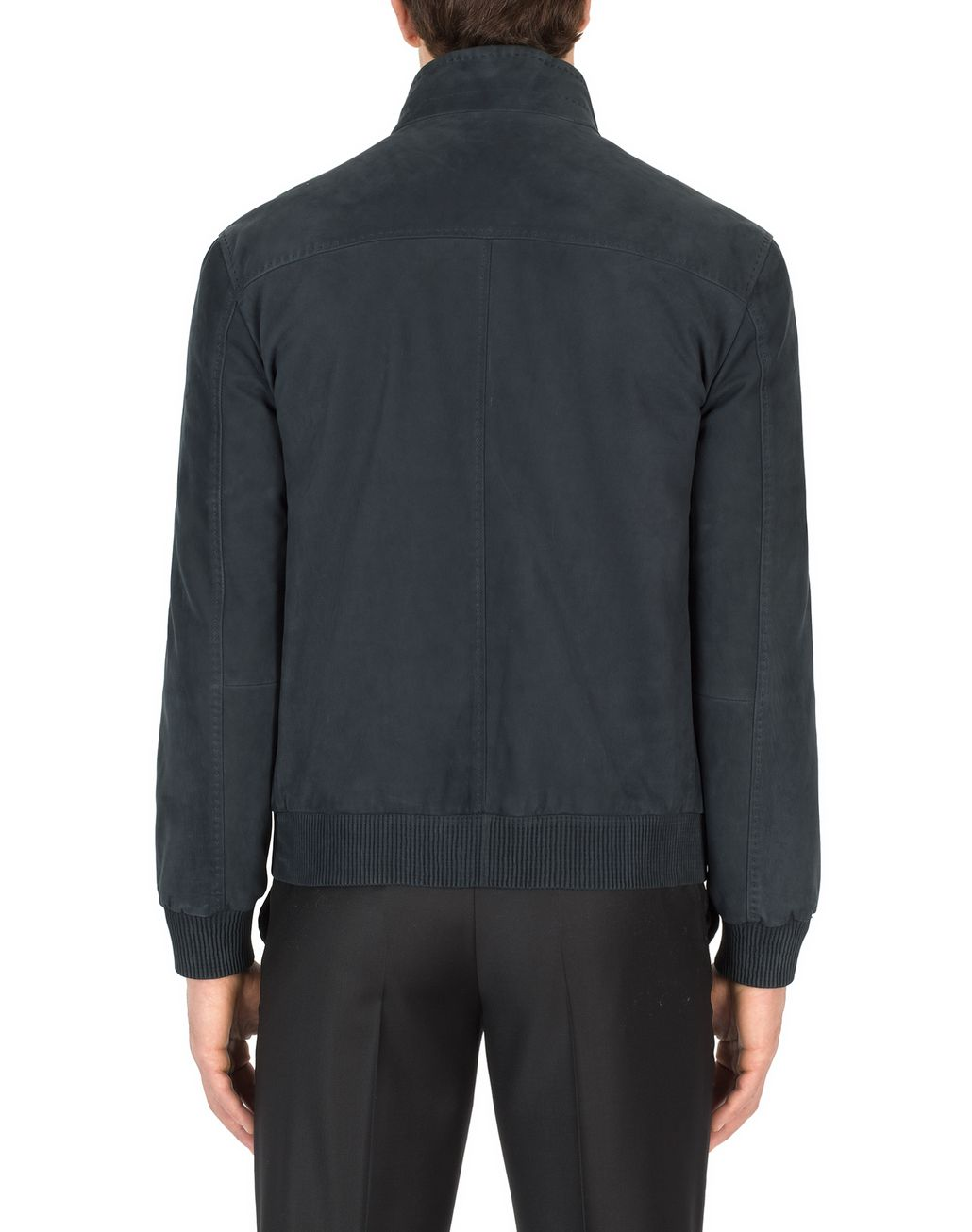 BRIONI Blue Leather Zippered Bomber Outerwear Man d