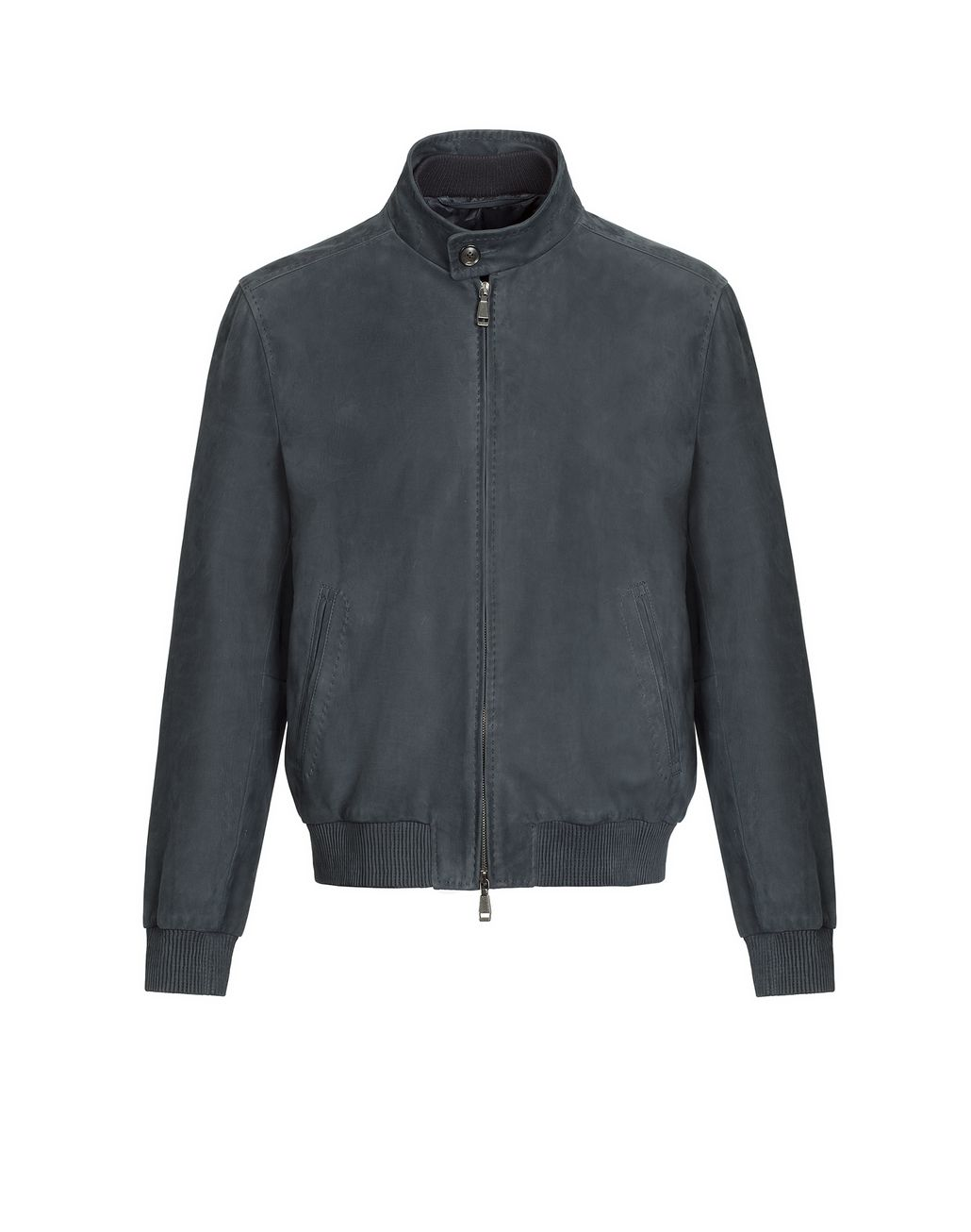 BRIONI Blue Leather Zipped Bomber Outerwear Man f