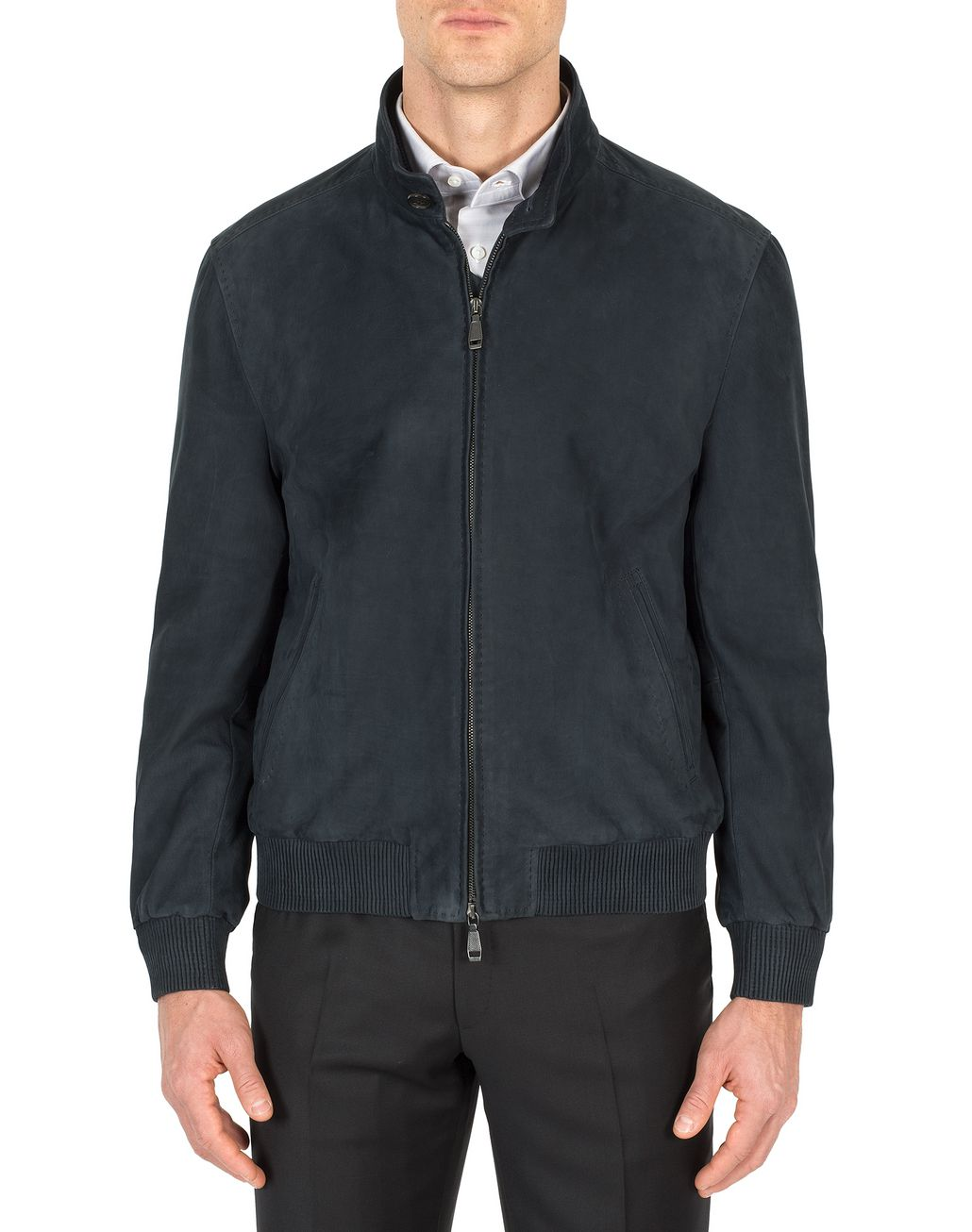 BRIONI Blue Leather Zipped Bomber Outerwear Man r